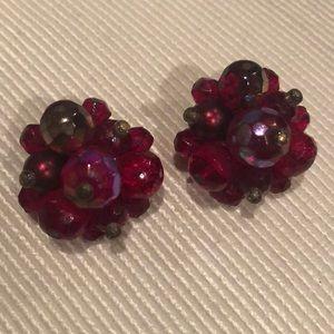 Vintage Clip Earrings, Cranberry Color